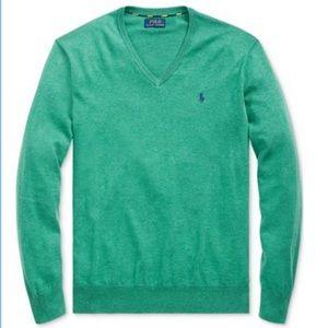 Polo Ralph Lauren Green Pima Cotton Vneck Sweater